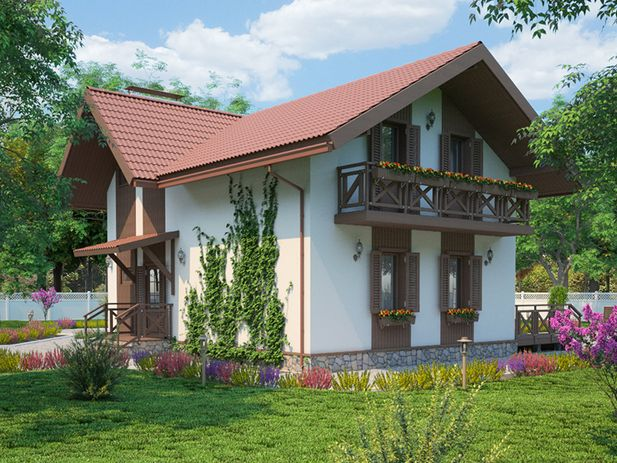 одноэтажный дом с мансардным этажом