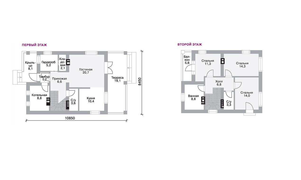 Проект двухэтажного дома 8 на 8 планы