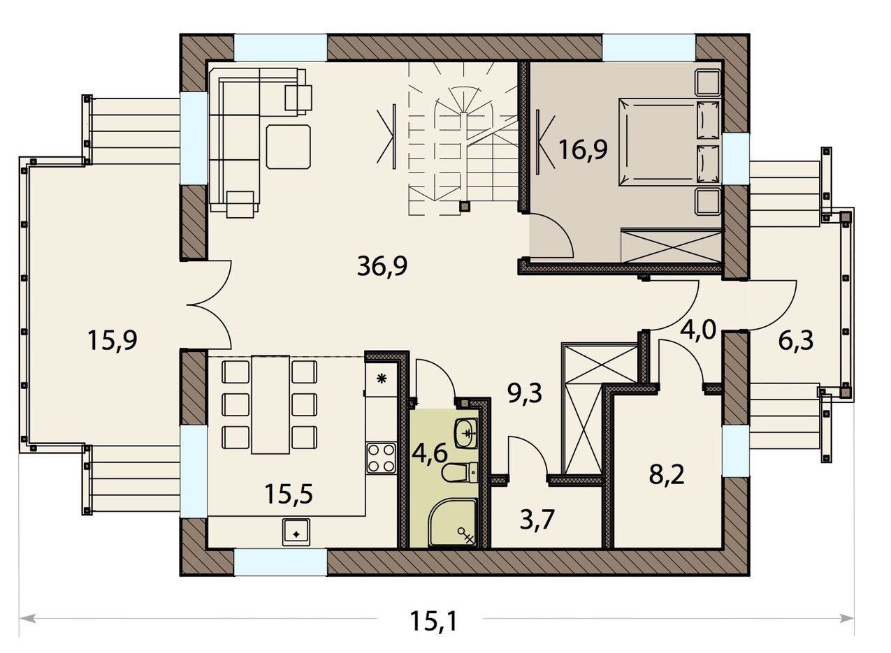 Проект дома с балконом 2